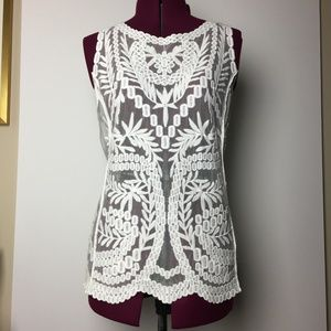 Laundry by Shelli Segal Sheer Embroidered Lace Top